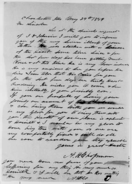Augustus H. Chapman to Abraham Lincoln, Thursday, May 24, 1849  (Illness of Thomas Lincoln (father))
