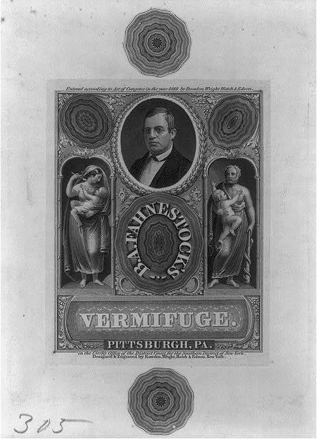 [B. A. Fahnestock bust, facing left, on advertisement for Fahnestock's Vermifuge]
