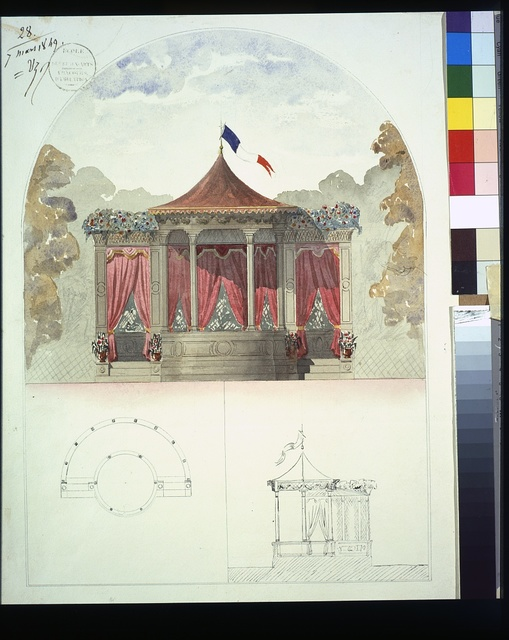 [Bandstand. Elevation rendering in color, with plan and side elevation]