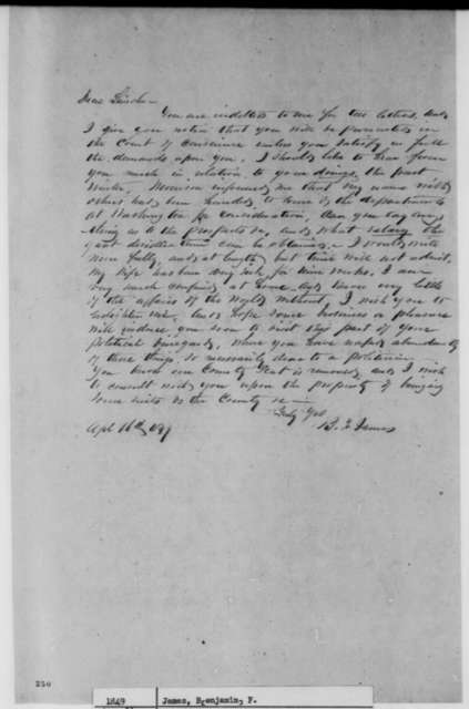 Benjamin F. James to Abraham Lincoln, Monday, April 16, 1849  (Appointment)