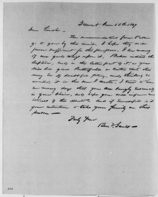 Benjamin F. James to Abraham Lincoln, Tuesday, June 12, 1849  (Abraham Lincoln in Land Office)