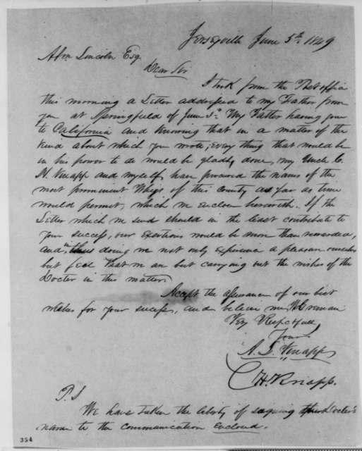 C. H. Knapp and A. L. Knapp to Abraham Lincoln, Tuesday, June 05, 1849  (Abraham Lincoln in Land Office)