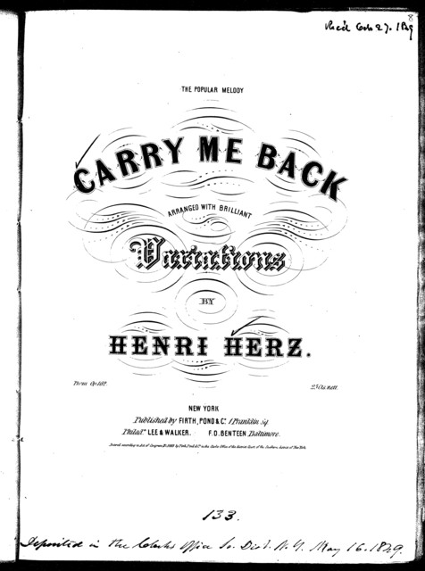 Carry me back, op. 162