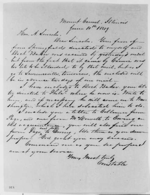 Charles H. Constable to Abraham Lincoln, Sunday, June 10, 1849  (Abraham Lincoln in Land Office)
