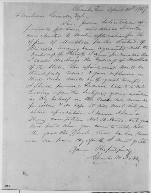 Charles W. Noble to Abraham Lincoln, Monday, April 30, 1849  (Appointment)