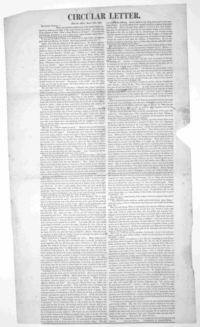 Circular letter. Harvard, Mass., March 20th, 1849. Esteemed friend:- Have you read the publications of the United Believers? and if so, what do you think of the views therein presented? ... I am your friend. Lorenzo D. Grosvenor.