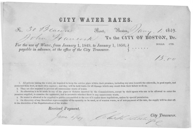 City water rates. No. street. Boston, 1849. To the City of Boston, Dr. For the use of water from January 1, 1849, to January 1, 1850. [Boston, 1849].