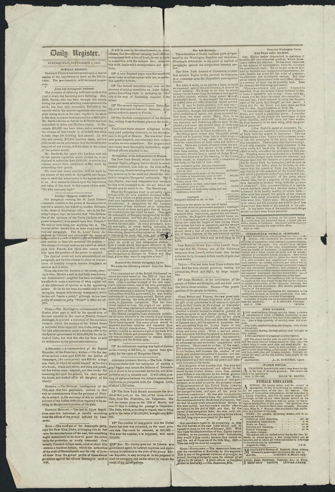 Daily Register, Vol. I, Springfield, [newspaper]. September 3, 1849.