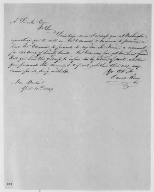 David King to Abraham Lincoln, Tuesday, April 10, 1849  (Land Bounty)