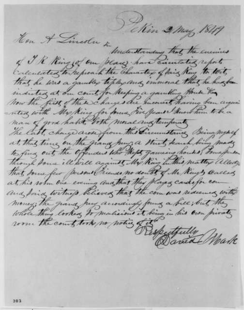 David Mark to Abraham Lincoln, Wednesday, May 02, 1849  (Recommendation for Turner R. King)