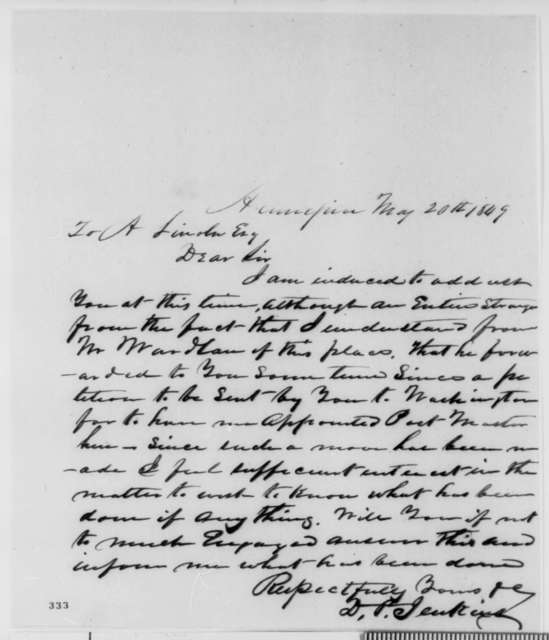 David P. Jenkins to Abraham Lincoln, Sunday, May 20, 1849  (Appointment)