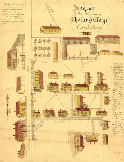 Diagram of the south part of Shaker Village, Canterbury, NH.