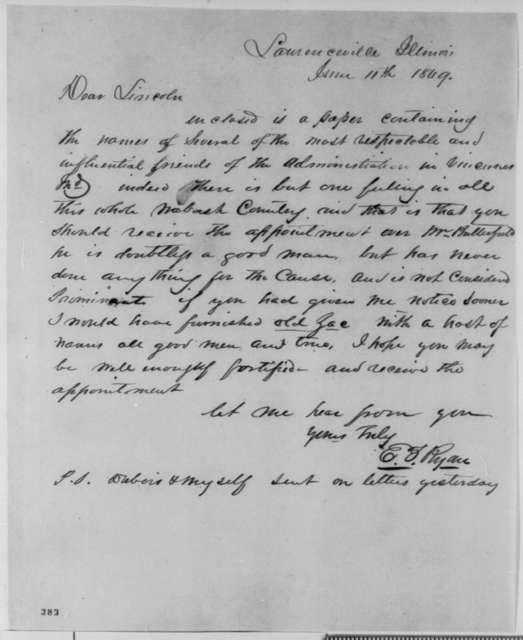 E. F. Ryan to Abraham Lincoln, Monday, June 11, 1849  (Abraham Lincoln in Land Office)
