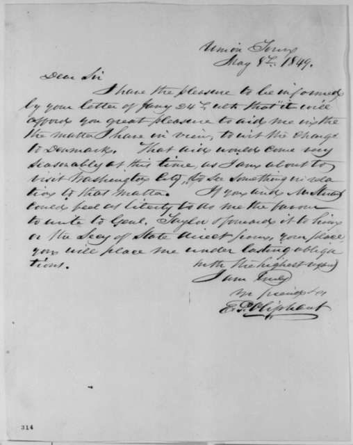 Ethelbert P. Oliphant to Abraham Lincoln, Tuesday, May 08, 1849  (Appointment)