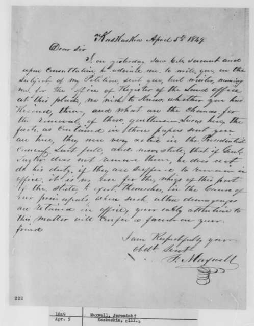 Ferdinand Maxwell to Abraham Lincoln, Thursday, April 05, 1849  (Appointment)