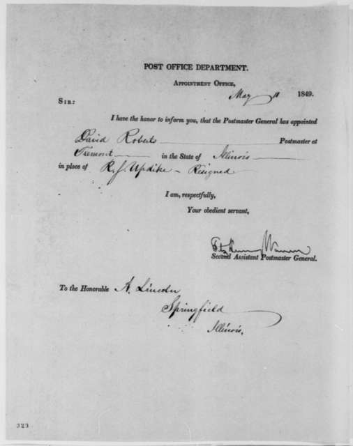 Fitz Henry Warren to Abraham Lincoln, Friday, May 11, 1849  (Postmaster Appointment)