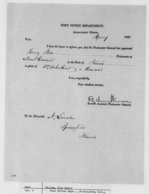 Fitz Henry Warren to Abraham Lincoln, Monday, April 09, 1849  (Postmaster Appointment)