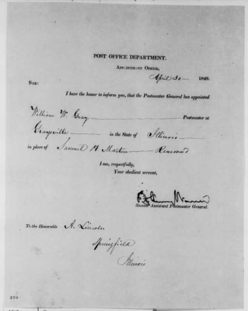Fitz Henry Warren to Abraham Lincoln, Monday, April 30, 1849  (Postmaster Appointment)
