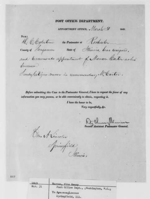 Fitz Henry Warren to Abraham Lincoln, Saturday, March 31, 1849  (Postmaster Appointment)