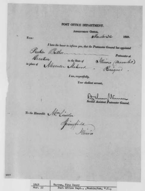 Fitz Henry Warren to Abraham Lincoln, Thursday, March 22, 1849  (Postmaster Appointment)