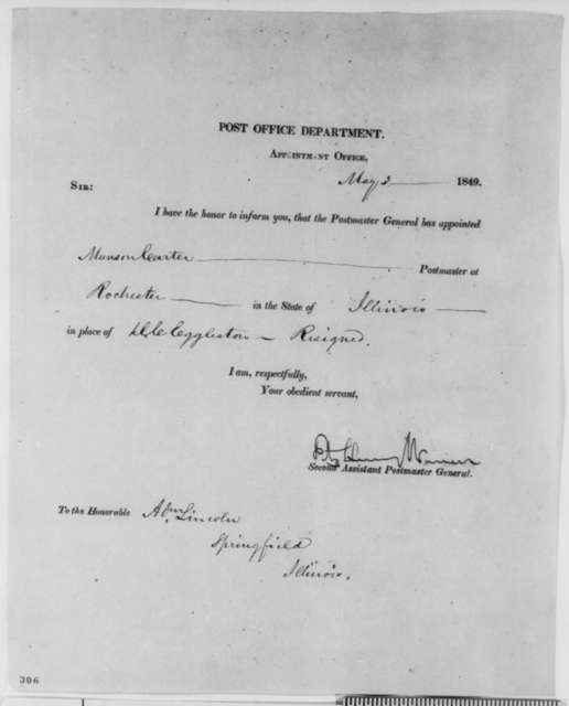 Fitz Henry Warren to Abraham Lincoln, Thursday, May 03, 1849  (Postmaster Appointment)