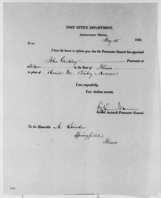 Fitz Henry Warren to Abraham Lincoln, Tuesday, May 15, 1849  (Postmaster Appointment)