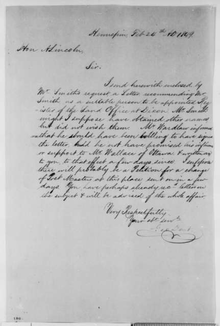 George Dent to Abraham Lincoln, Saturday, February 24, 1849  (Dixon Land Office)