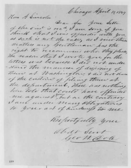 George W. Dole to Abraham Lincoln, Wednesday, April 11, 1849  (Appointment)