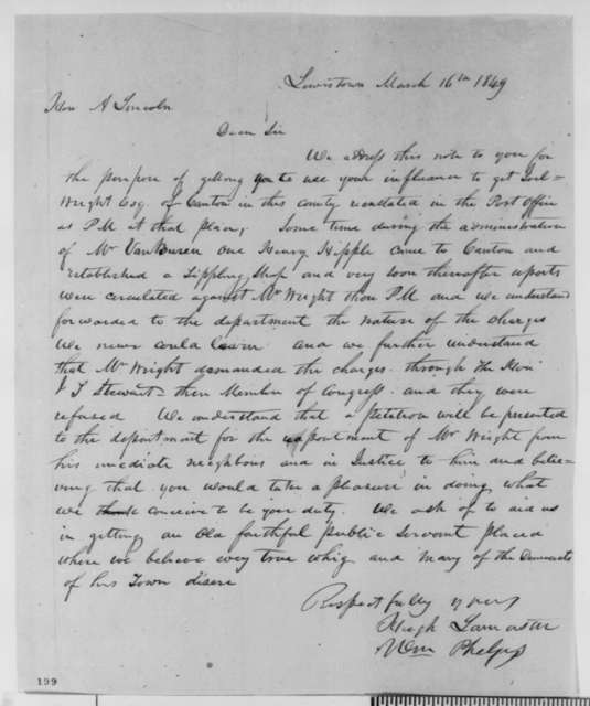 Hugh Lamaster and William Phelps to Abraham Lincoln, Friday, March 16, 1849  (Postmaster Appointment)