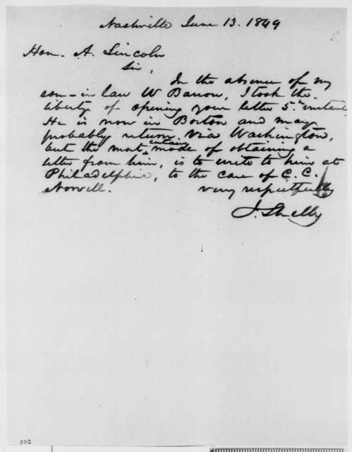 Isaac Shelby to Abraham Lincoln, Wednesday, June 13, 1849  (Referral)