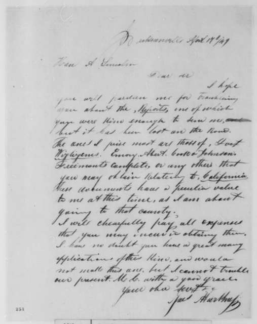 James Harkness to Abraham Lincoln, Tuesday, April 17, 1849  (Requests Reports)