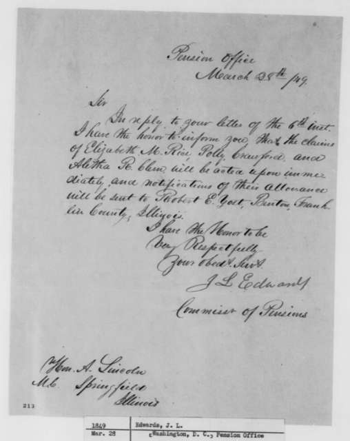 James L. Edwards to Abraham Lincoln, Wednesday, March 28, 1849  (Pension Claims)