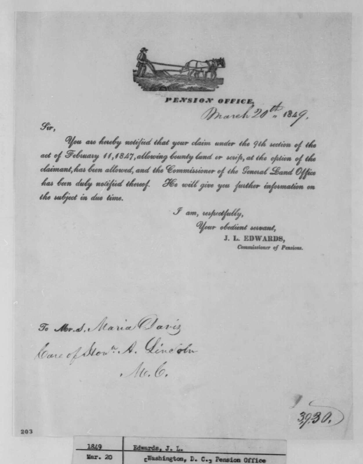 James L. Edwards to Maria Davis, Tuesday, March 20, 1849  (Bounty Land Claim)