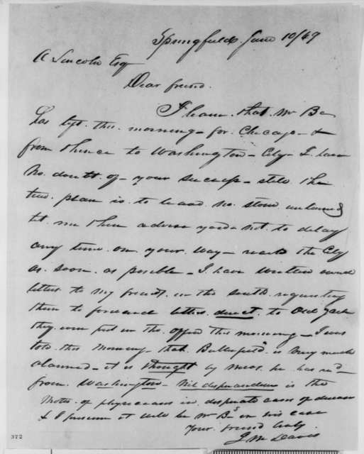 James M. Davis to Abraham Lincoln, Sunday, June 10, 1849  (Abraham Lincoln in Land Office)