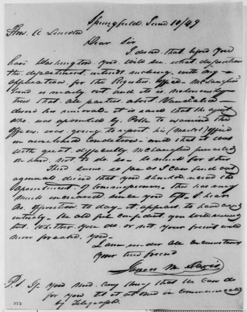 James M. Davis to Abraham Lincoln, Sunday, June 10, 1849  (Appointment)