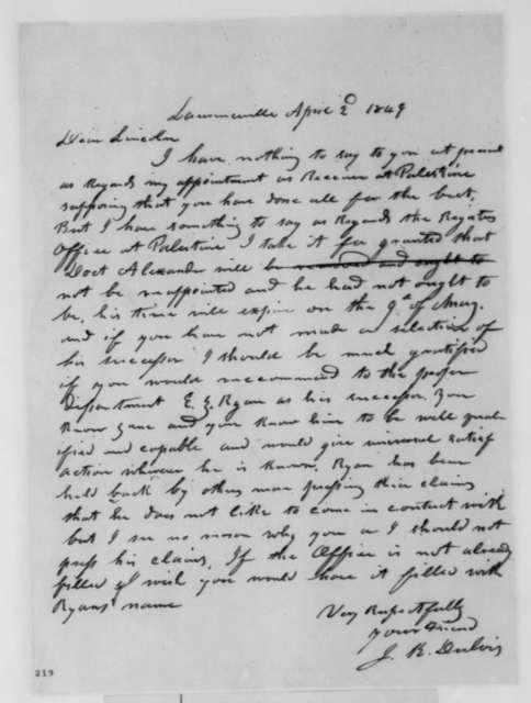 Jesse K. Dubois to Abraham Lincoln, Monday, April 02, 1849  (Appointment)