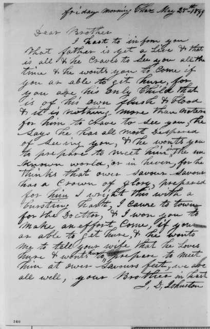 John D. Johnston to Abraham Lincoln, Friday, May 25, 1849  (Illness of Thomas Lincoln (father))