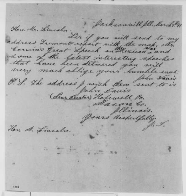 John Davis to Abraham Lincoln, Wednesday, March 07, 1849  (Request for Report and Speech)