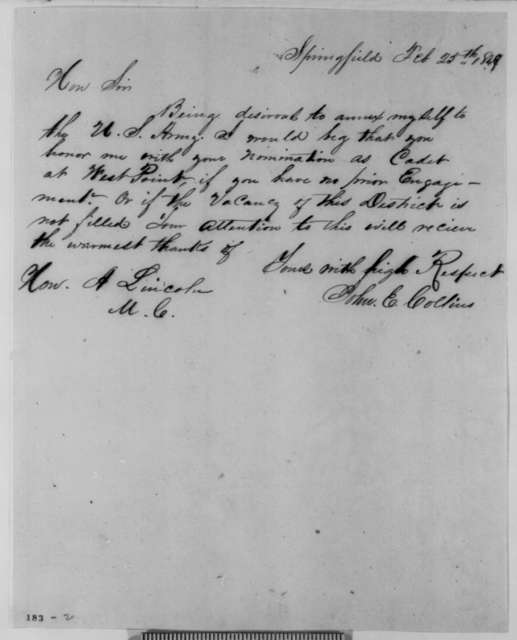 John E. Collins to Abraham Lincoln, Sunday, February 25, 1849  (Appointment)