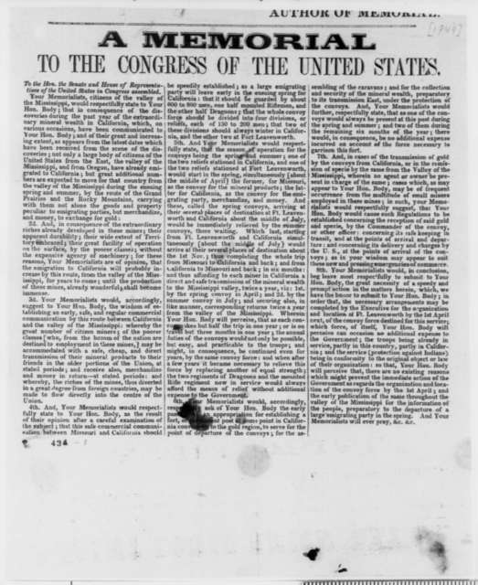 John Epler, et al. to U. S. Congress, [1849]  (Printed Memorial to Congress on Discovery of Gold and Emigration to California, with handwritten signatures appended; endorsed by Abraham Lincoln)
