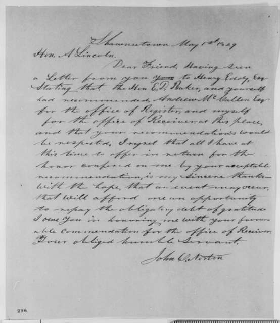 John W. Norton to Abraham Lincoln, Tuesday, May 01, 1849  (Appointment)