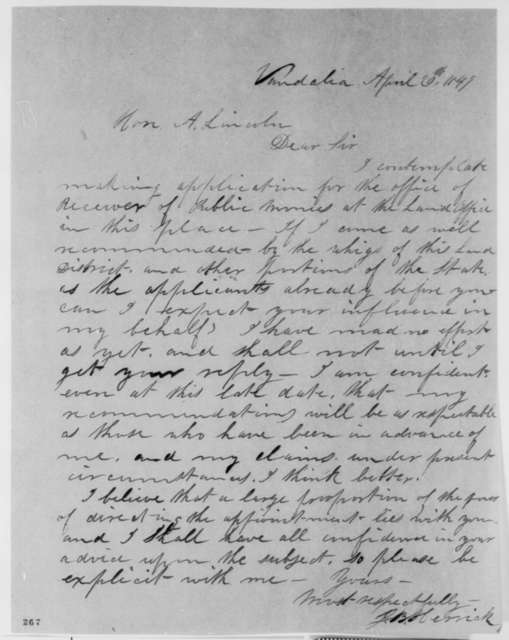 Josiah B. Herrick to Abraham Lincoln, Friday, April 20, 1849  (Appointment)