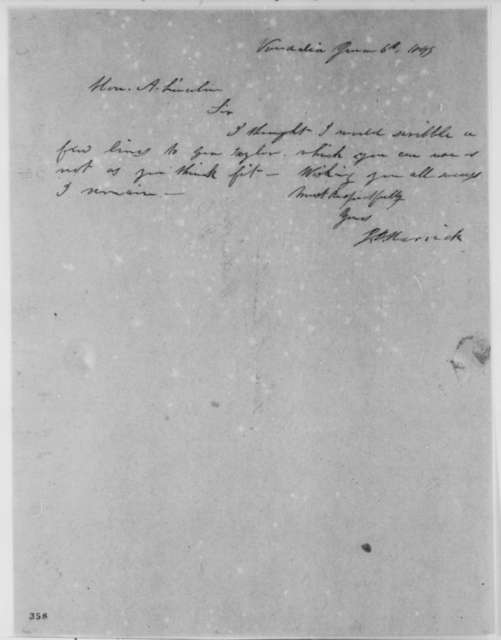 Josiah B. Herrick to Abraham Lincoln, Wednesday, June 06, 1849  (Abraham Lincoln in Land Office)