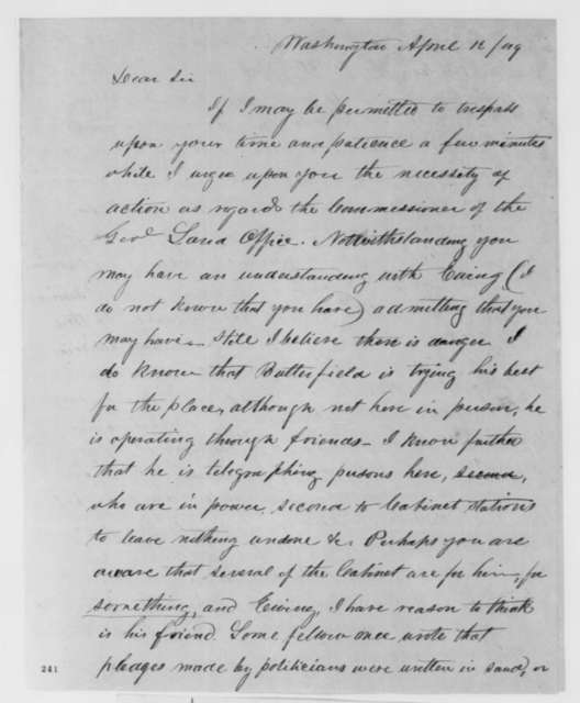 Josiah M. Lucas to Abraham Lincoln, Thursday, April 12, 1849  (Abraham Lincoln in Land Office)