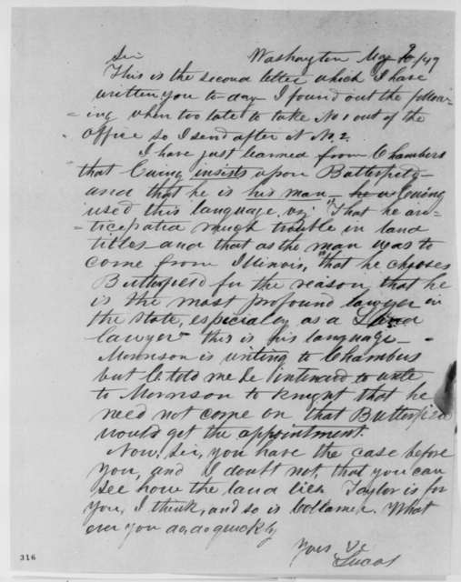Josiah M. Lucas to Abraham Lincoln, Wednesday, May 09, 1849  (Abraham Lincoln in Land Office)