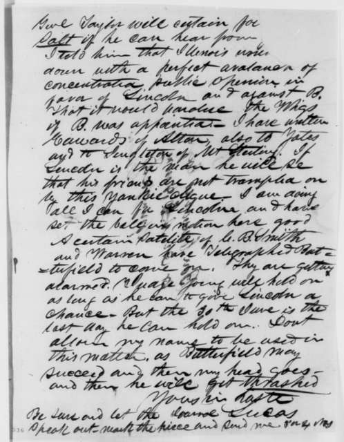Josiah M. Lucas to Anson G. Henry, Tuesday, May 22, 1849  (Abraham Lincoln in Land Office)