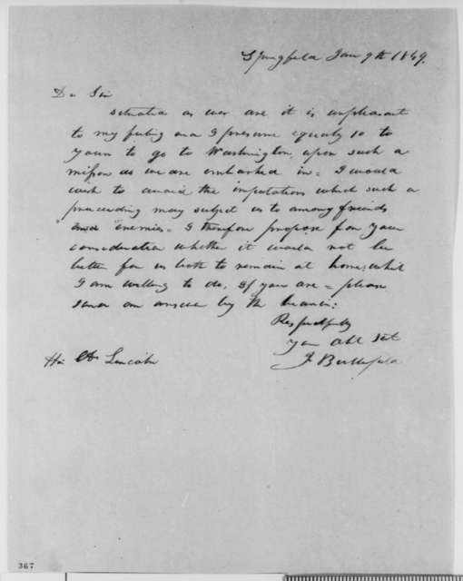 Justin Butterfield to Abraham Lincoln, Saturday, June 09, 1849  (Abraham Lincoln in Land Office)