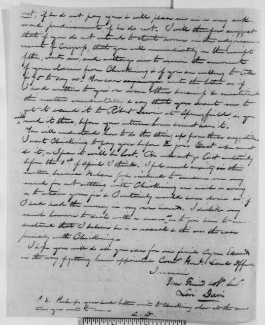 Levi Davis to Abraham Lincoln, Friday, March 02, 1849  (Legal Business)