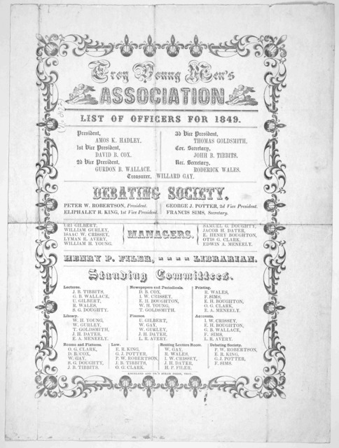 List of officers for 1849. Troy, Kneeland and Co's steam press. [1849].