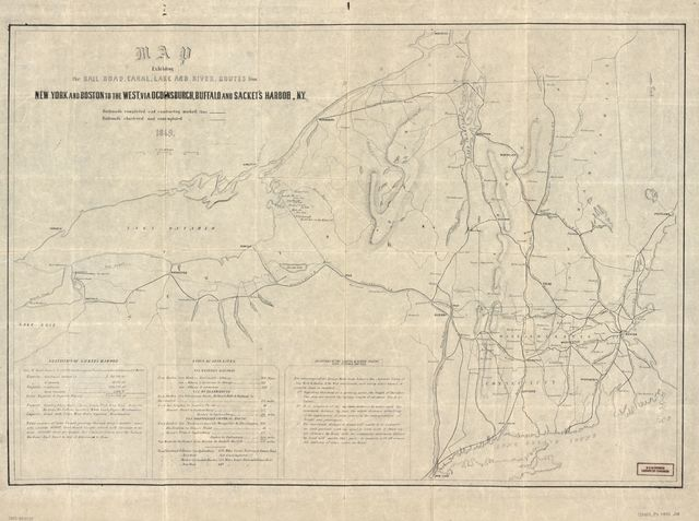 Map exhibiting the rail road, canal, lake, and river routes from New York and Boston to the west : via Ocdensburgh [sic] and Sacket's [sic] Harbor, N.Y.